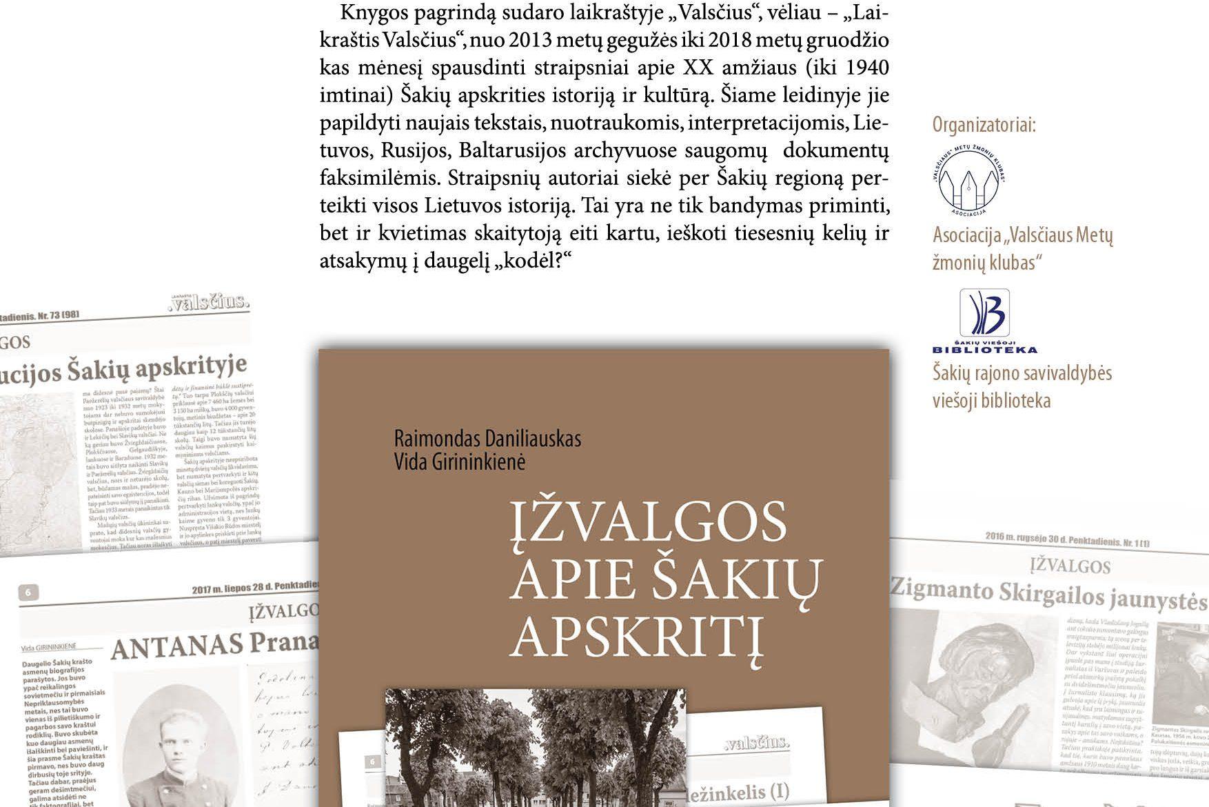 """Knygos ,,Įžvalgos apie Šakių apskritį"""" pristatymas"""