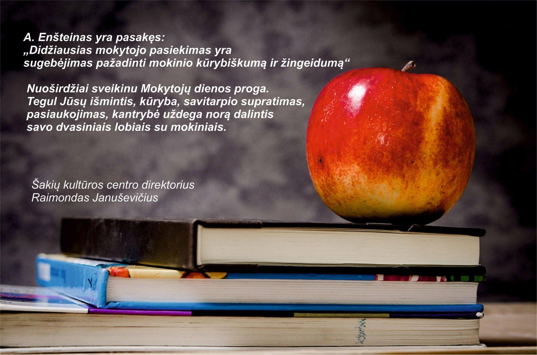 Sveikinimas Mokytojų dienos proga