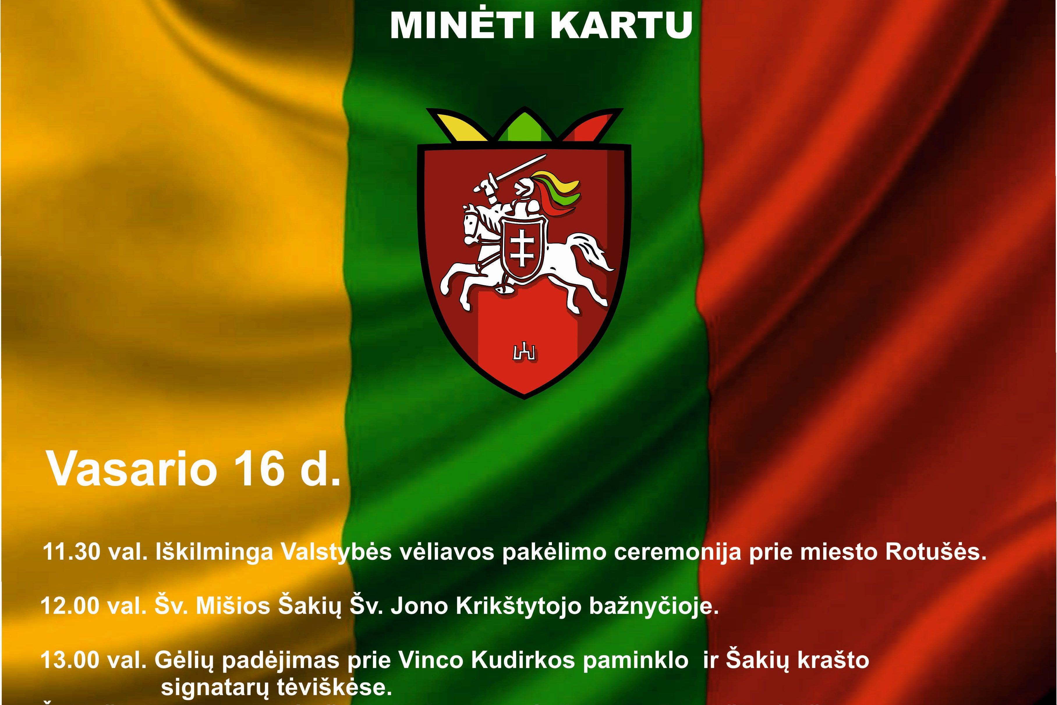 Kviečiame Lietuvos valstybės atkūrimo dieną minėti kartu