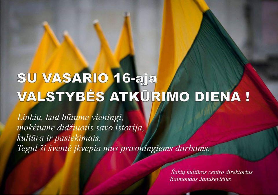 Sveikinimas su Lietuvos valstybės atkūrimo diena