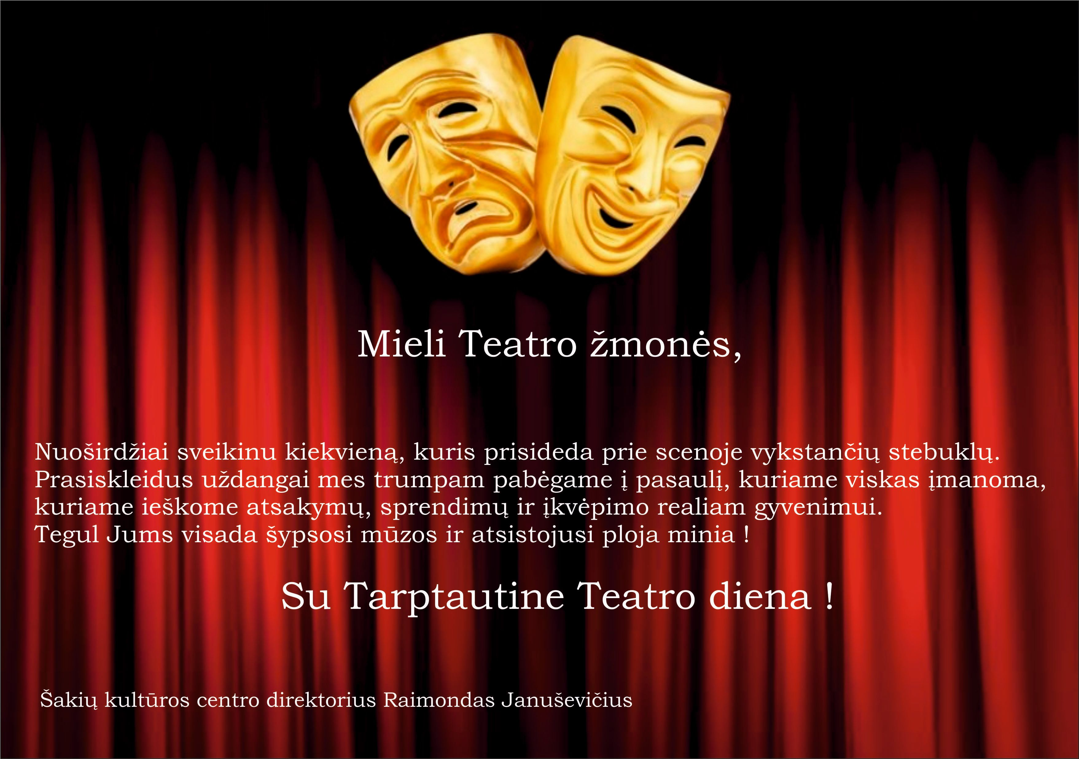 Sveikinimas su Tarptautine teatro diena